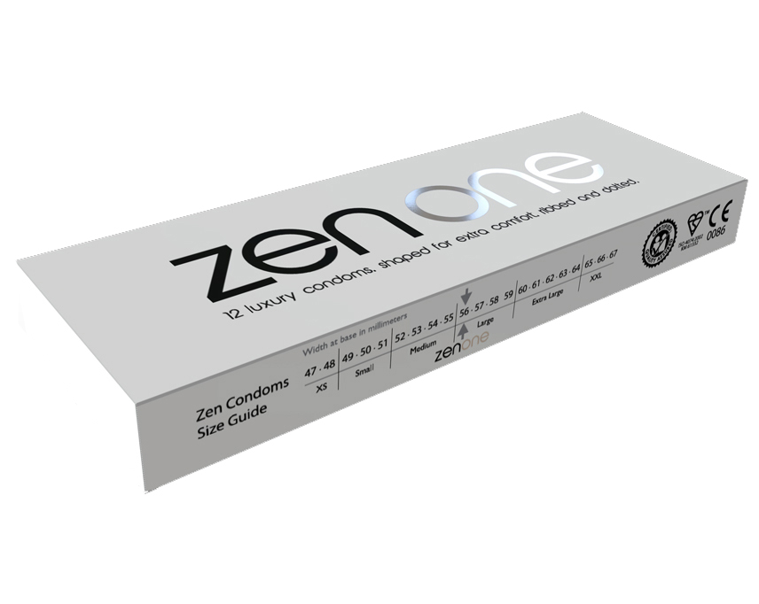 The Zen One condom is a slightly larger than average for a better fit. It is shaped for comfort, extra lubricated and has a unique dual texture for maximum pleasure. £4.99 each